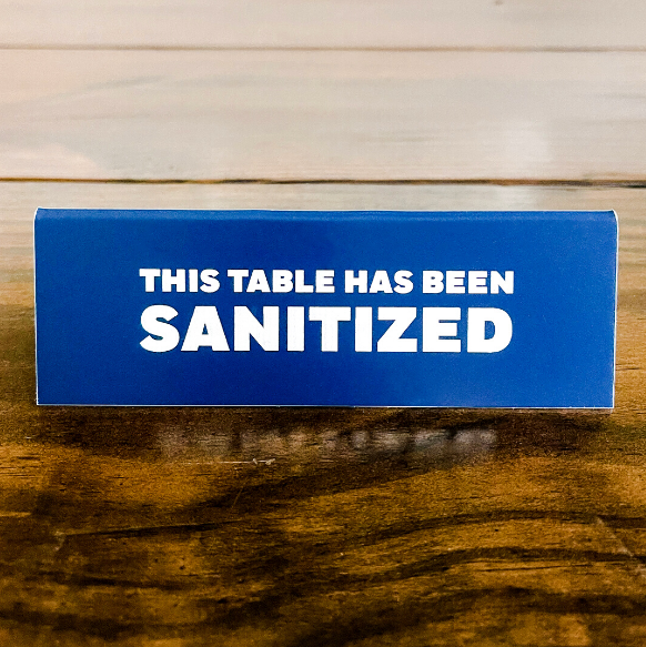 This Table Has Been Sanitized Bold Engraved Table Top Sign