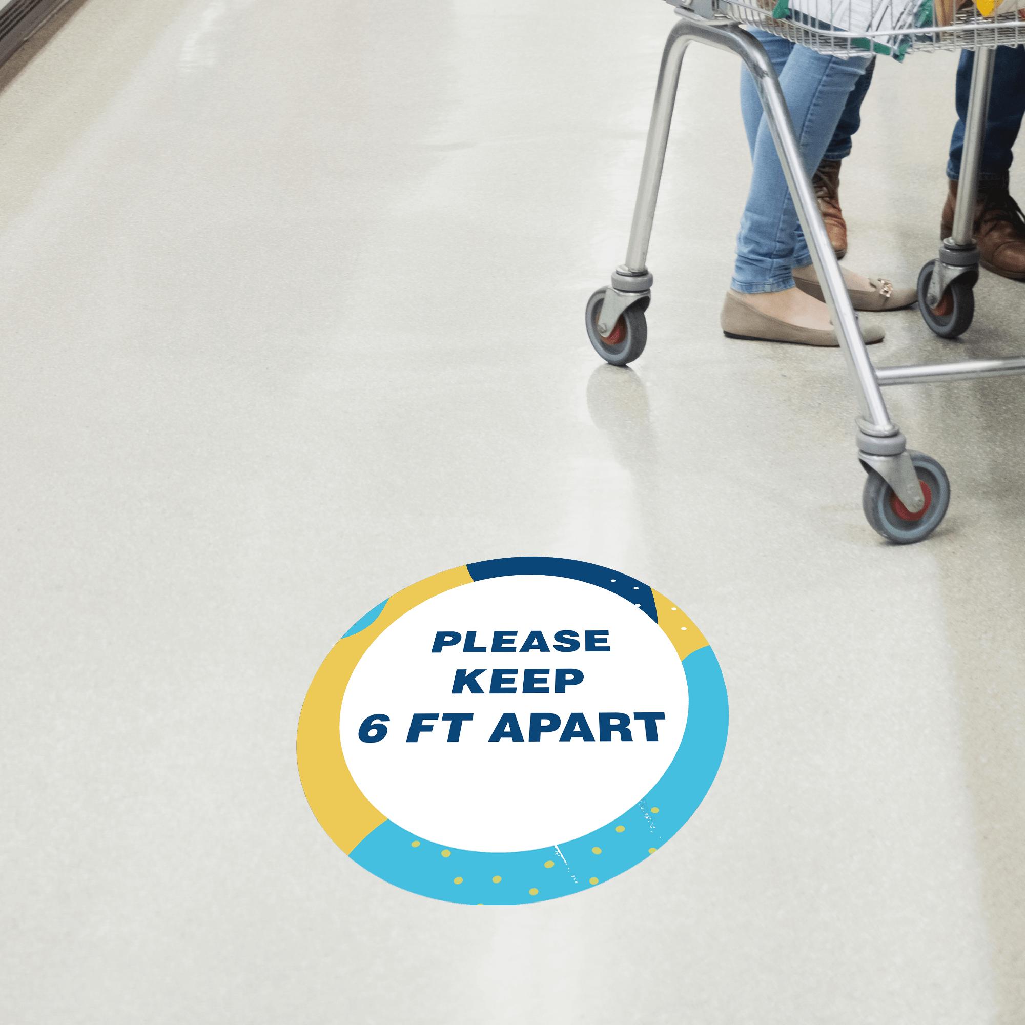 Please Keep 6 Feet Apart Aqua Set Business Reopening Floor Decal