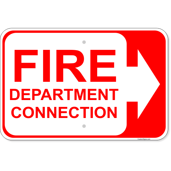"""Fire Department Connection Arrow Right Aluminum Sign 