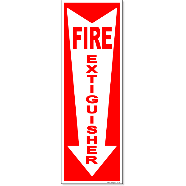 """Fire Extinguisher Down Arrow Full Color Decal 
