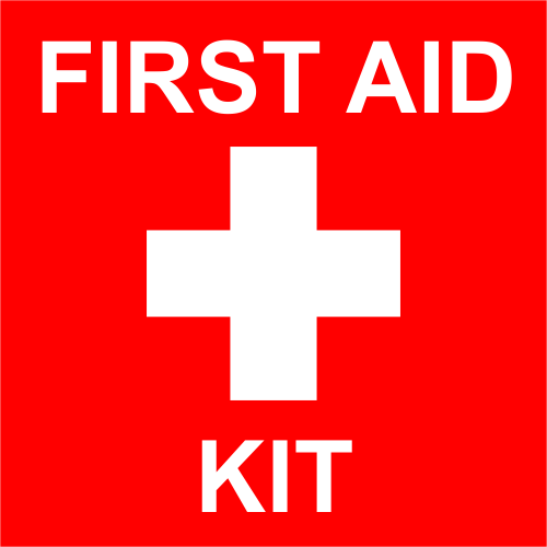 First Aid Kit with Medical Symbol Engraved Sign