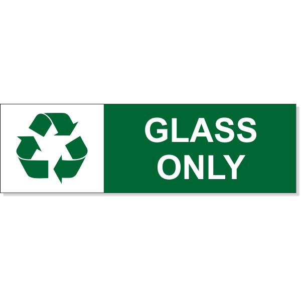 """Glass Recycle Decal   3"""" x 10"""""""