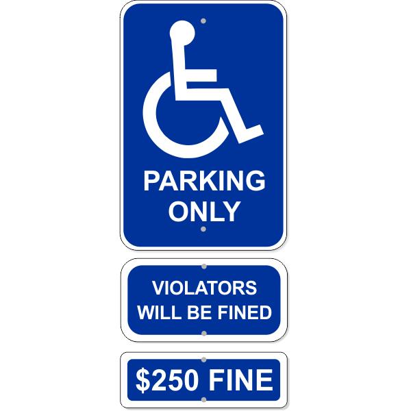 Handicap Parking Only Sign Bundle