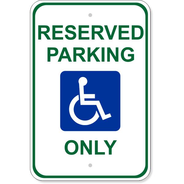 "Handicap Reserved Parking Aluminum Sign   18"" x 12"""