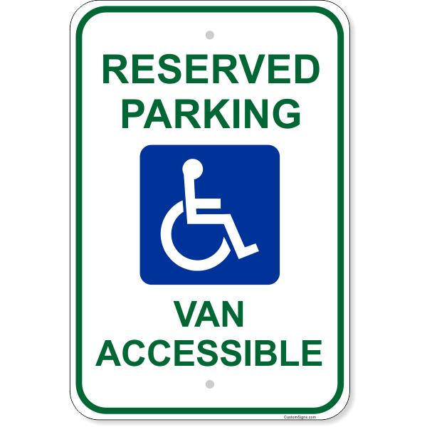 """Handicap Van Accessible Aluminum Sign   18"""" x 12"""""""