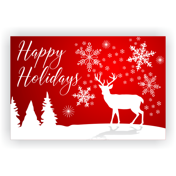 Happy Holidays White Reindeer Banner | 2' x 3'