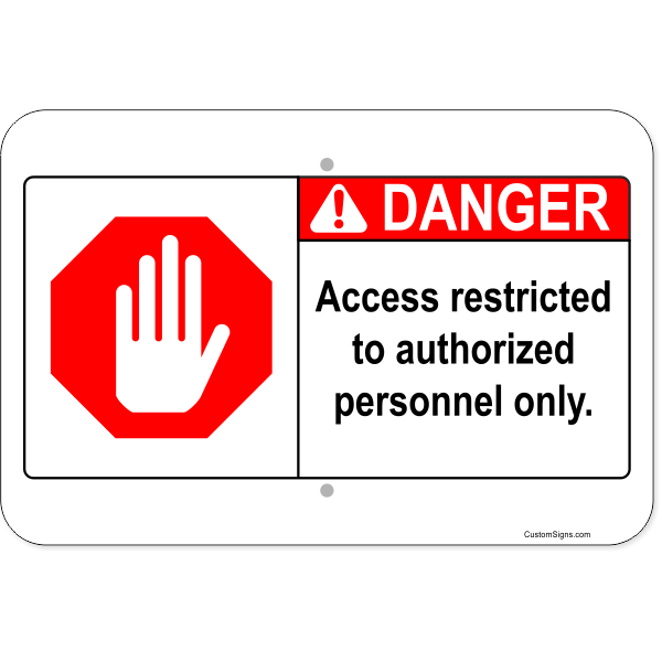 "Horizontal Danger Authorized Personnel Aluminum Sign | 12"" x 18"""
