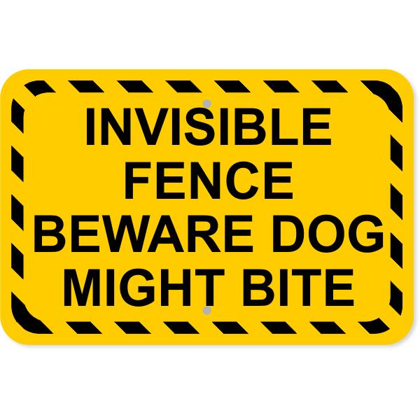 "Invisible Fence Dog Bite Aluminum Sign | 12"" x 18"