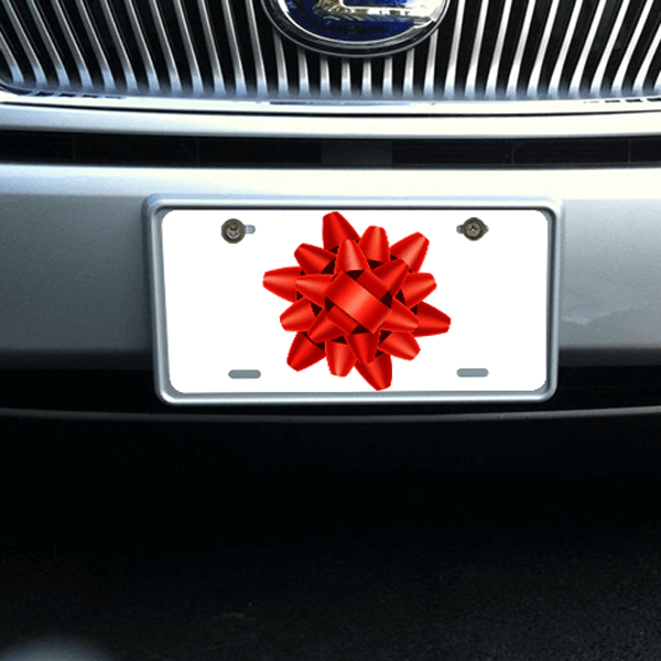 Large Red Bow License Plate