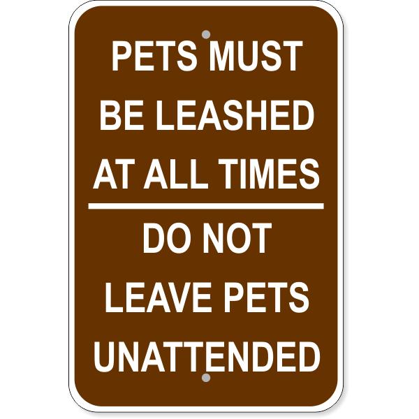"Leashed Pets Aluminum Sign   18"" x 12"""