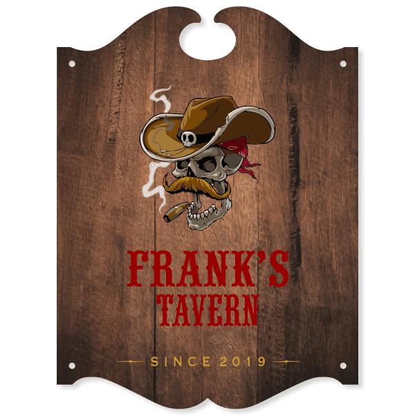 "Personalized Smoking Skull Tavern Sign   16"" x 12"""