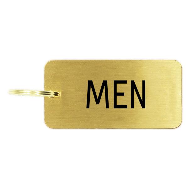 Men's Restroom Brass Key Chain