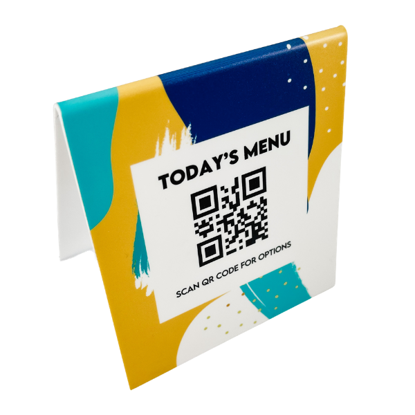 Custom QR Code Today's Menu Trendy Table Top Sign