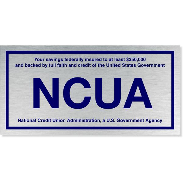 "NCUA Blue / Silver Aluminum Wall Plate   4"" x 8"""