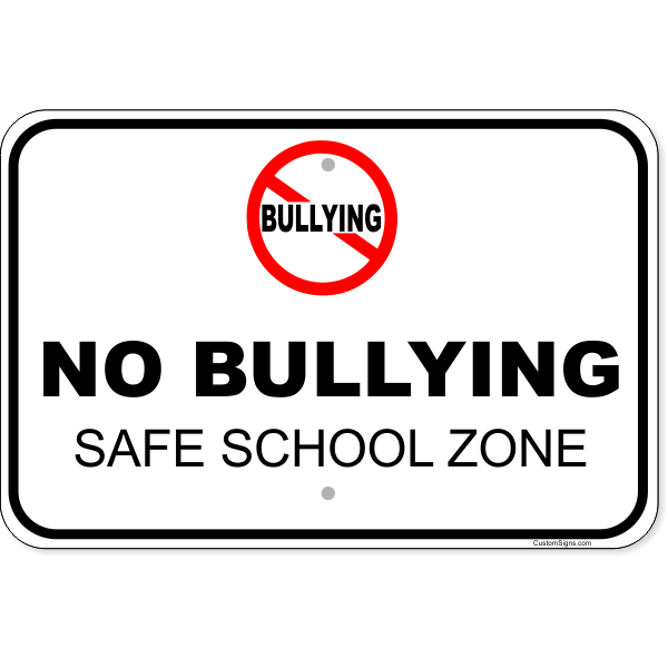 "No Bullying Aluminum Sign   12"" x 18"""