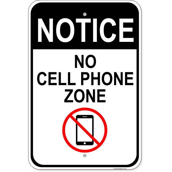 """No Cell Phone Zone Sign   Aluminum   18"""" x 12"""""""