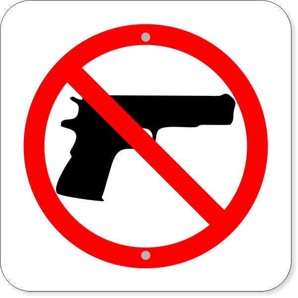 "No Firearms Aluminum Sign | 12"" x 12"""