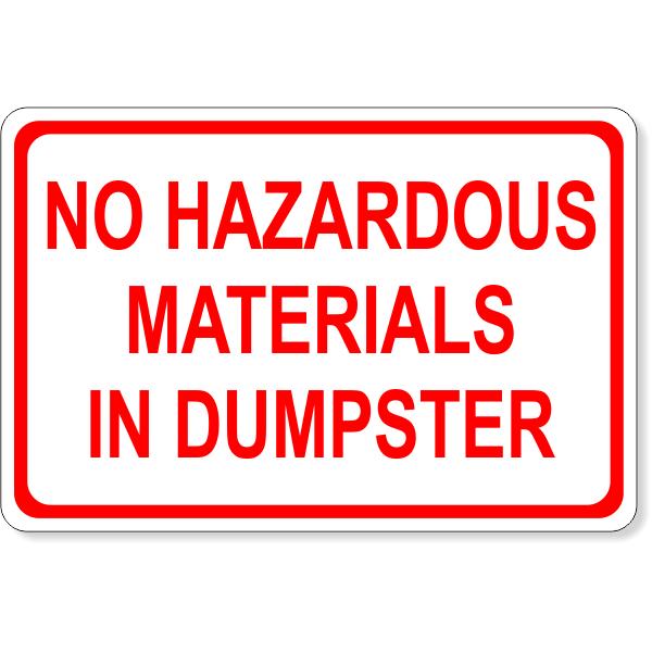 """No Hazardous Materials Dumpster Decal   4"""" x 6"""""""