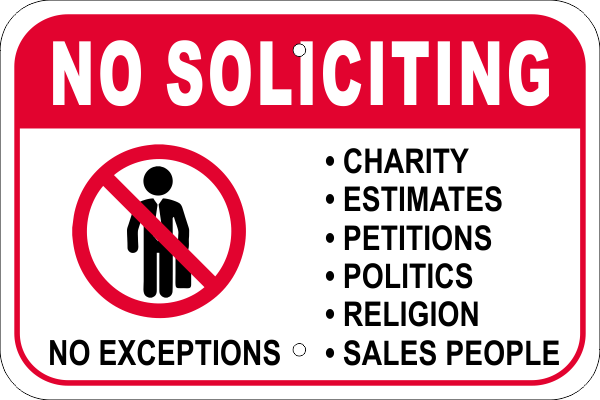 No Soliciting Sales Icon Aluminum Sign