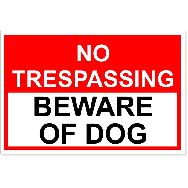 "No Trespassing Beware of Dog Decal | 4"" x 6"""
