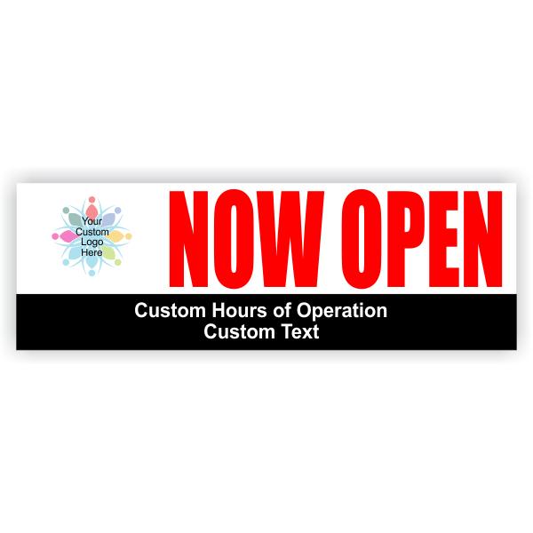 Now Open Hours Banner | 2' x 6'