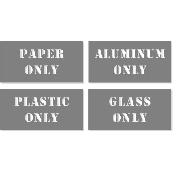 Paper / Plastic / Glass / Aluminum Stencil Pack