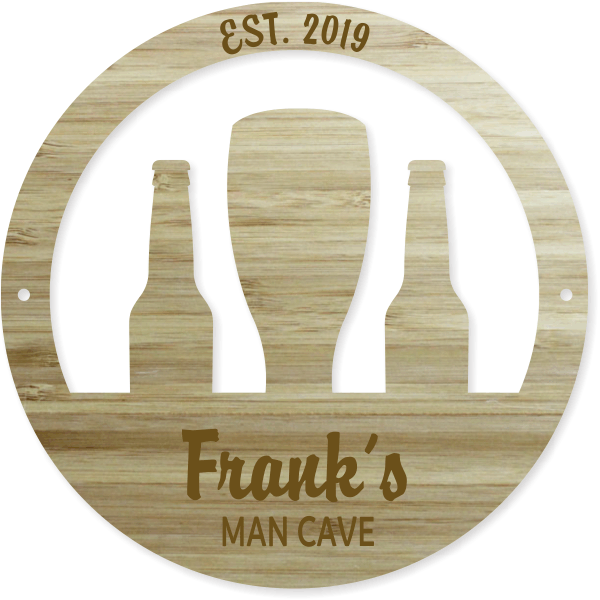 """12"""" Round Personalized Bottles and Tap Engraved Wood Sign"""