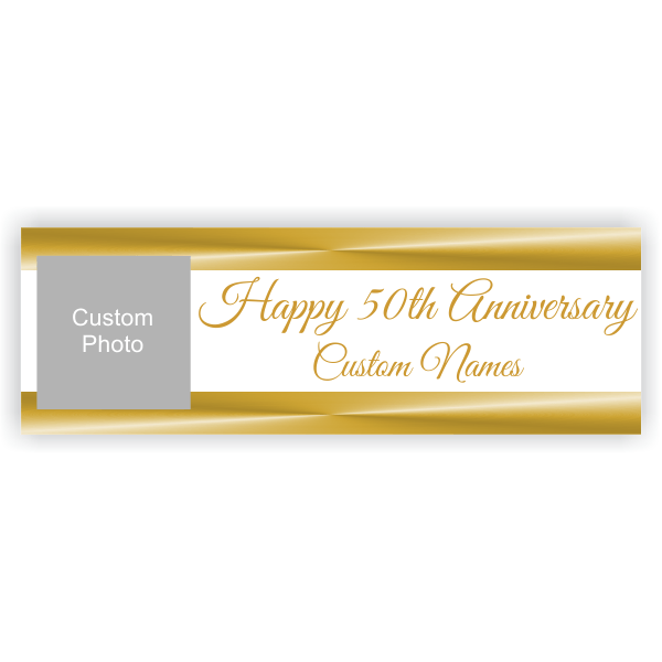 Personalized Golden Anniversary Banner   2' x 6'