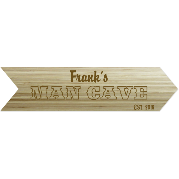 """Personalized Man Cave Arrow Engraved Wood Sign 