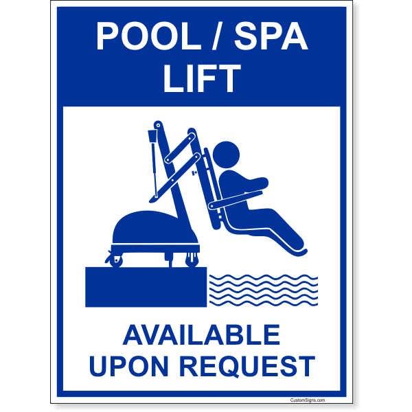 """Pool Lift Available Full Color Sign 