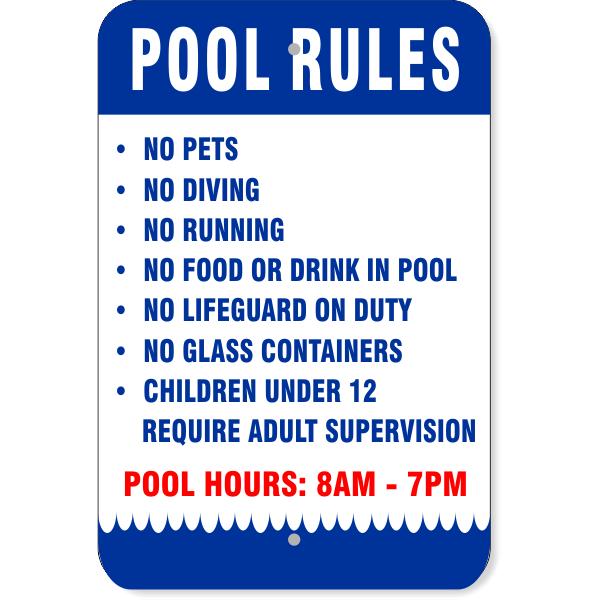 "Pool Rules Wave Aluminum Sign   18"" x 12"""