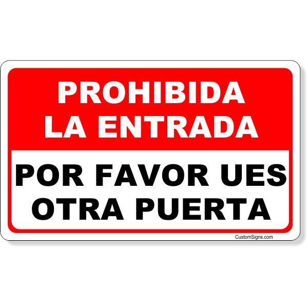 Red Spanish No Admittance Sign