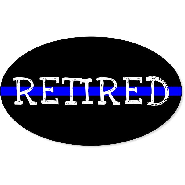 "Retired Thin Blue Line Oval Bumper Sticker | 3"" x 5"""