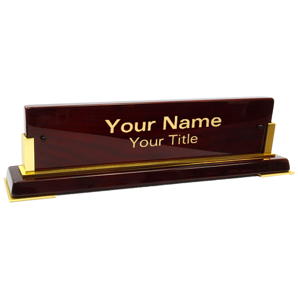 """Customized Brass Name Plate Wooden Base   3"""" x 10"""""""