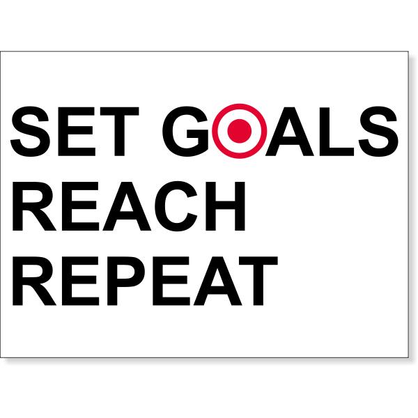 """Set Goals Reach Repeat Poster Sign - 18"""" x 24"""""""