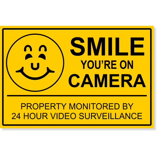 """Smile You're On Camera Video Surveillance Yard Sign 