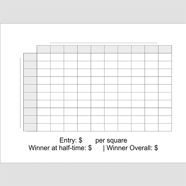 Blank Football Squares Game 12x18 size