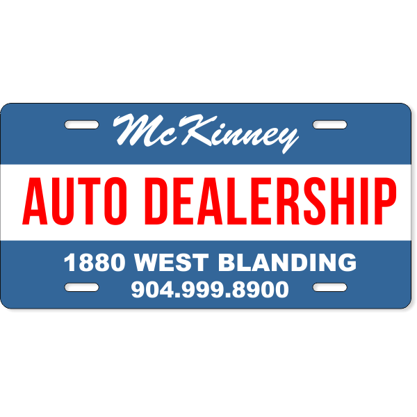 Striped Auto Dealership Industry Custom License Plate