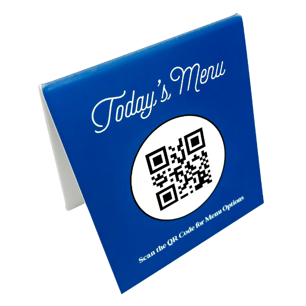 Custom QR Code with Custom Background Color Menu Table Top Sign
