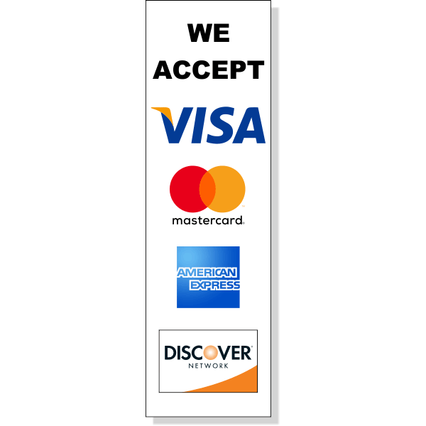 """Vertical Credit Card Accepted Decal   10"""" x 3"""""""