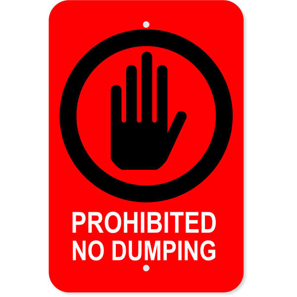 Vertical Dumping Prohibited Sign