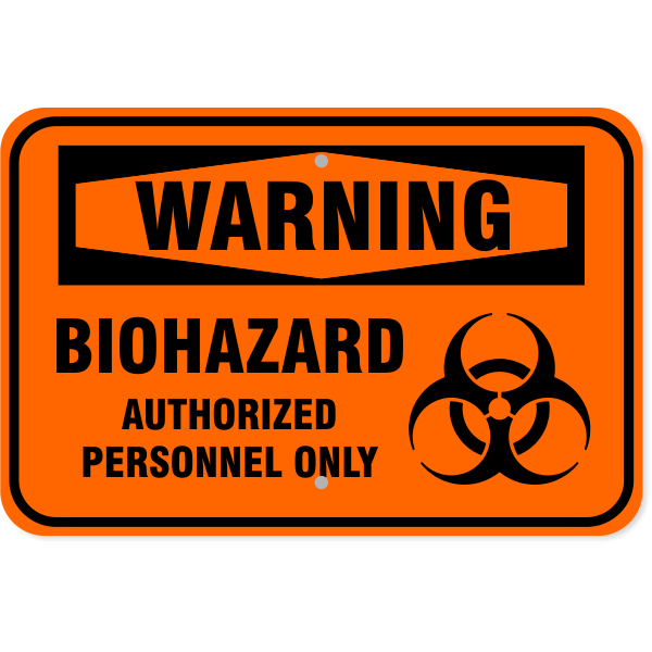 "Warning Biohazard Aluminum Sign | 12"" x 18"""