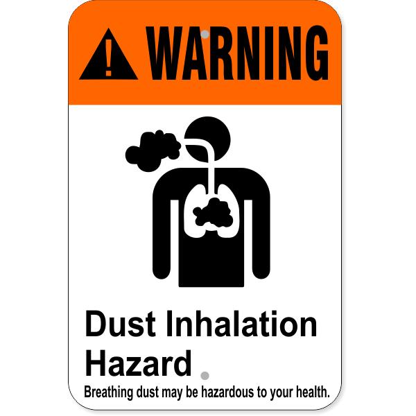 "Warning Dust Inhalation Hazard Health Aluminum Sign | 12"" x 18"""