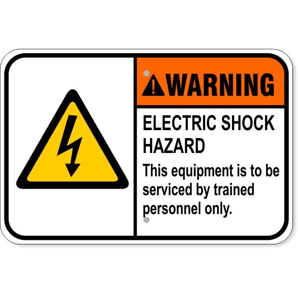 "Warning Electric Shock Hazard Aluminum Sign   12"" x 18"""