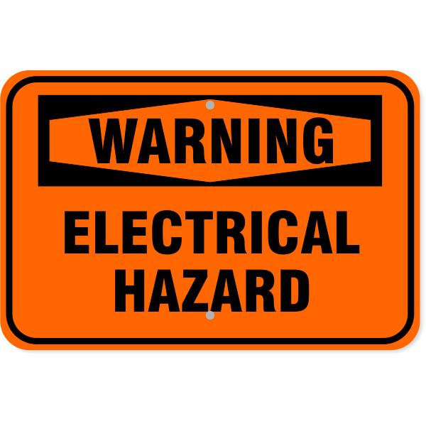 "Warning Electrical Hazard Aluminum Sign   12"" x 18"""