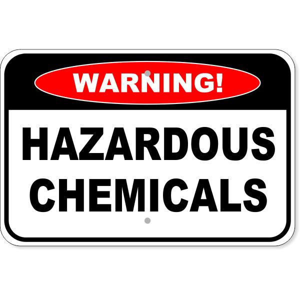 "Warning Hazardous Chemicals Aluminum Sign | 12"" x 18"""
