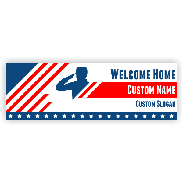 Welcome Home Military Banner - 2' x 6'
