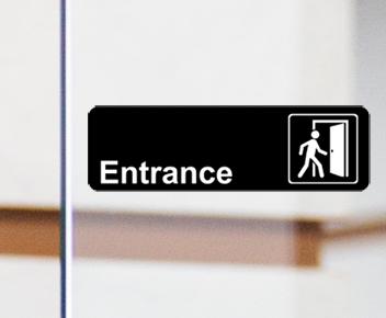 engraved entrance door sign