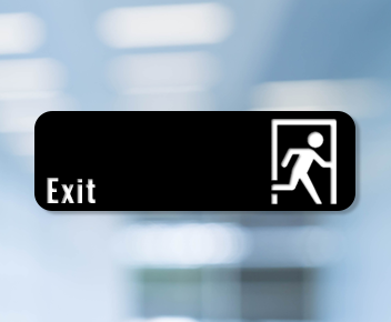 engraved exit sign