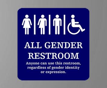 all gender engraved restroom sign